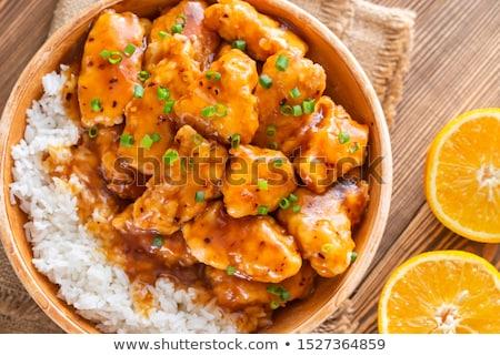 çanak turuncu tavuk beyaz pirinç gıda Stok fotoğraf © Alex9500