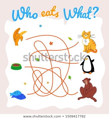Who eats what maze, labyrinth vector template Stock photo © Decorwithme