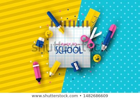 Stockfoto: Terug · naar · school · kaart · kind · iconen · illustratie