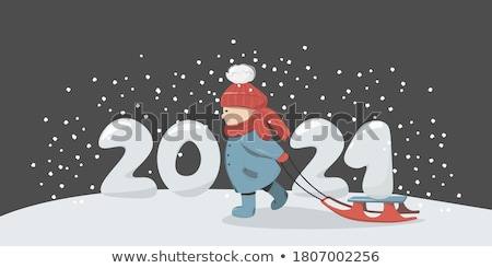Christmas and New Year card of sledge and gifts Stock photo © cienpies