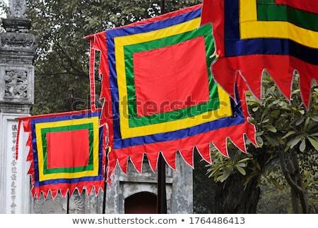 Geleneksel festival bayraklar Vietnam beş elemanları Stok fotoğraf © galitskaya