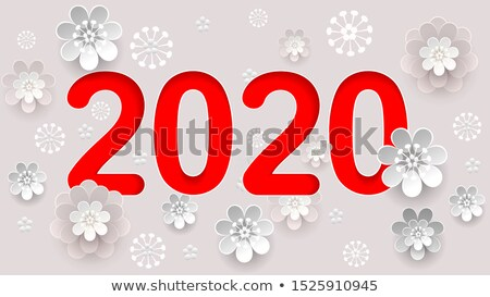 2020 new year text number calendar. Abstract flower composition Stock photo © orensila