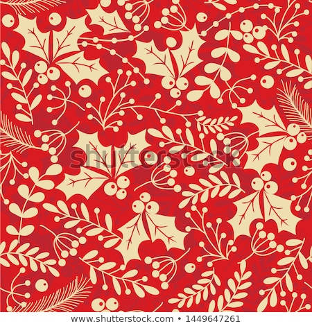 Seamless pattern with holly branches. Stock photo © Artspace