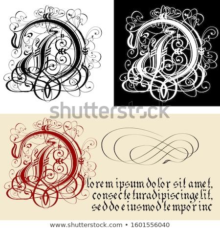 Dekoracyjny gothic litera d kaligrafia wektora eps8 Zdjęcia stock © mechanik