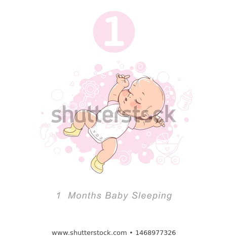 Stock photo: Baby boy in cute clothes 1 year of age on the background of balloons and white boxes tied with red r