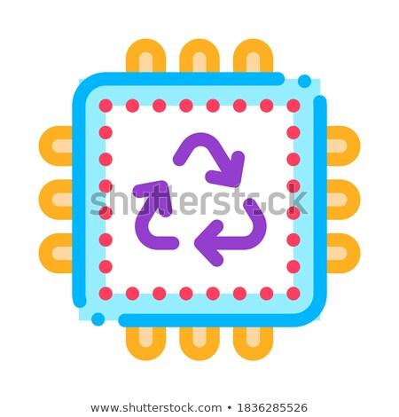Reciclar procesador icono vector ilustración Foto stock © pikepicture