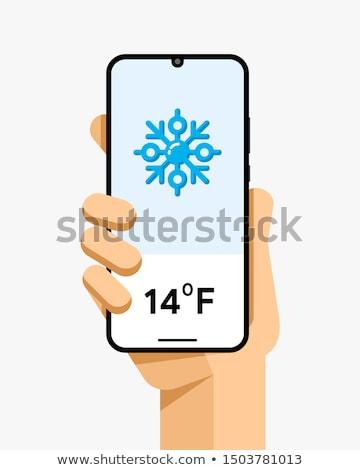 Okostelefon vázlat emberi kéz időjárás hőmérséklet alkalmazás Stock fotó © karetniy