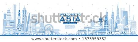 Outline Singapore skyline with blue landmarks and copy space.  Stock photo © ShustrikS