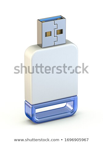White blue USB memory stick standing 3D Stock photo © djmilic