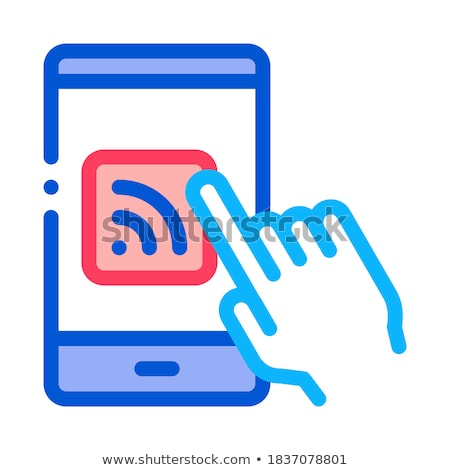 Hand Push Wifi Button Icon Outline Illustration Stock photo © pikepicture