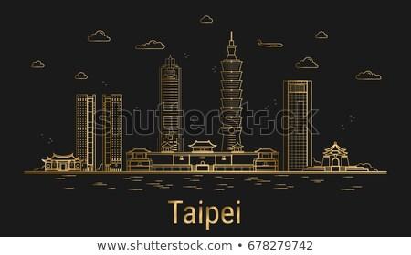 Taipei City skyline golden silhouette. Stock photo © ShustrikS