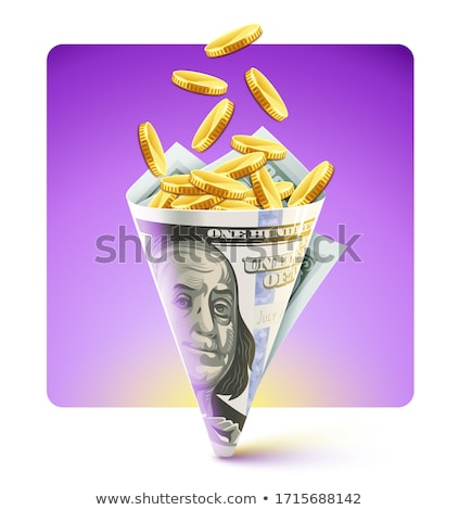 Twisted bag origami american dollars currency with gold coins Stock photo © LoopAll