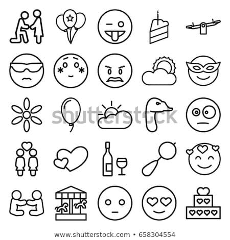 Surprised cloud emoji outline illustration Stock photo © barsrsind