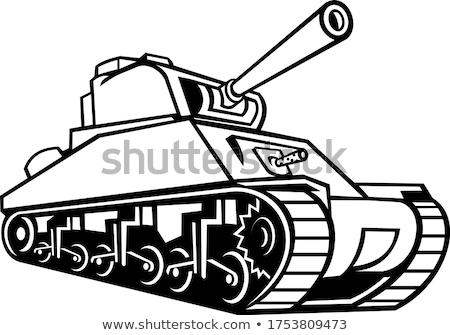 Tank mascotte zwart wit icon illustratie gebruikt Stockfoto © patrimonio