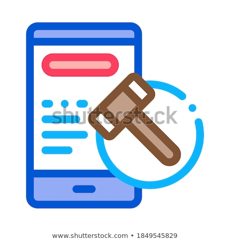 phone version of auction icon vector outline illustration Stock photo © pikepicture