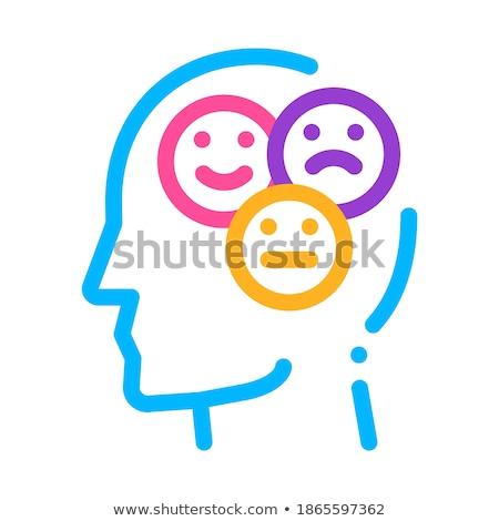 Inny nastrój uśmiech człowiek sylwetka umysł Zdjęcia stock © pikepicture