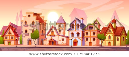 Middeleeuwse stad straat Spanje christelijke koninkrijk Stockfoto © fxegs