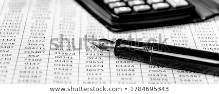 Studying financial numbers on a printed spreadsheet. Stock photo © latent