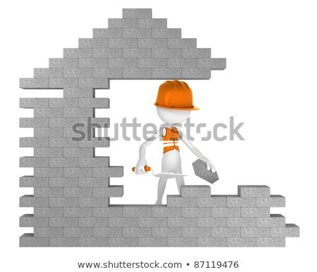 3d ember munkavédelmi sisak épület téglafal fal munka Stock fotó © dacasdo