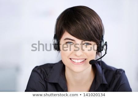 Mooie klantenservice exploitant vrouw hoofdtelefoon geïsoleerd Stockfoto © Nobilior
