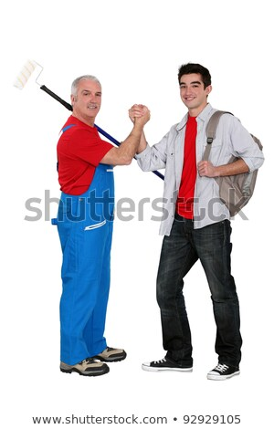 Handyman welcoming probationary worker Stock photo © photography33