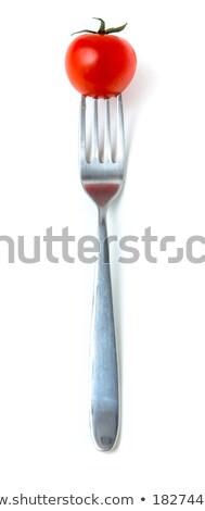 チェリートマト フォーク おいしい 赤 美しい 銀 ストックフォト © stevanovicigor