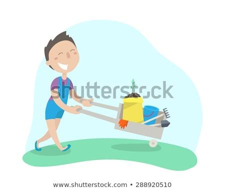 Happy boy with gardening tools Stock photo © ilona75