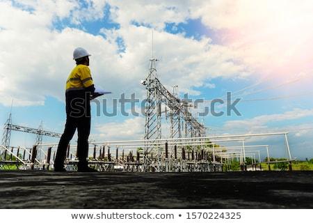инженер рисунок оранжевый костюм Hat безопасности Сток-фото © photography33