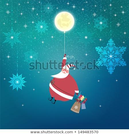 Christmas card, Santa Claus in Starry Night Stock photo © marimorena
