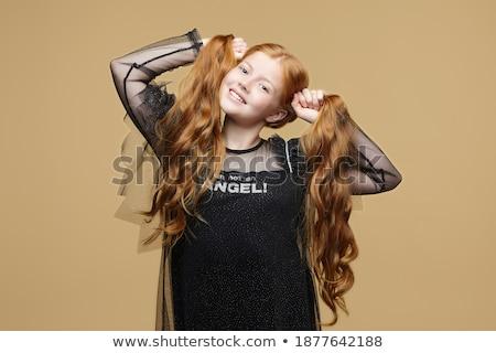 portré · vörös · hajú · nő · angyal · lány · fehér · nő - stock fotó © dolgachov