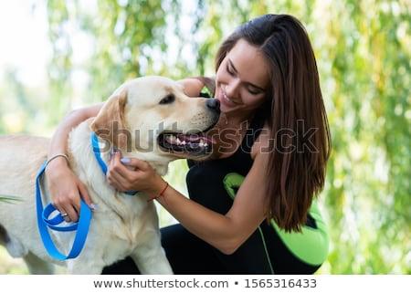Vrouw hond meisje glimlach man Stockfoto © photography33