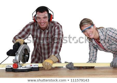 Сток-фото: Couple Using Circular Saw