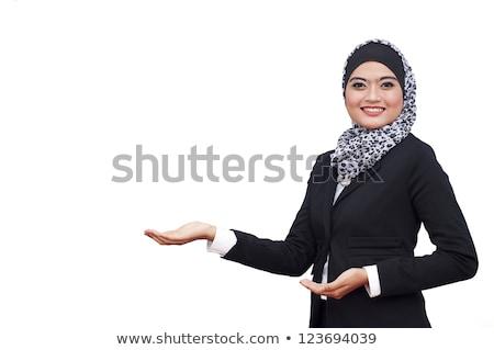 Brunette verkoop vertegenwoordiger vrouw hoofdtelefoon witte Stockfoto © wavebreak_media
