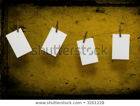 Stock photo: Photo paper attach to rope with clothes spins