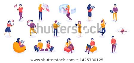 hombre · 3d · teléfono · negocios · oficina · sonrisa - foto stock © digitalgenetics