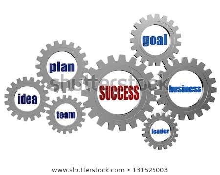 success, idea, vision, plan in silver grey gearwheels Stock photo © marinini