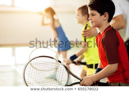 テニス 子供 シルエット オレンジ 子 健康 ストックフォト © nebojsa78