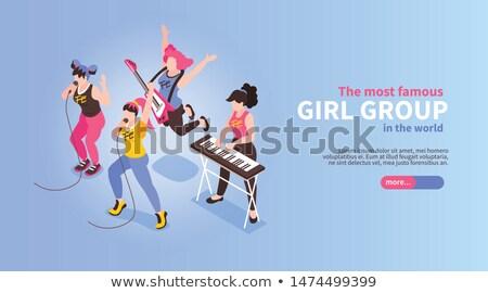örömteli · énekes · mikrofon · fiatalember · pózol · billentyűzet - stock fotó © kalozzolak