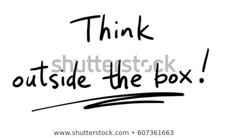 handschriftlich · denken · außerhalb · Feld · Geschäftsmann · schreiben - stock foto © matteobragaglio
