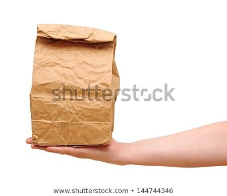 női · tart · barna · papír · táska · tartalom · kéz - stock fotó © inxti