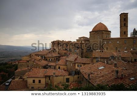 日没 小さな町 トスカーナ イタリア 市 風景 ストックフォト © anshar