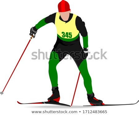 Ski runner colored silhouettes. Vector illustration Stock photo © leonido