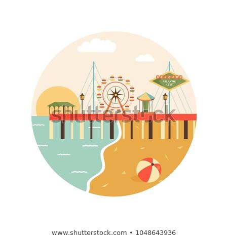 panoramă · oraş · New · Jersey · orizont · prim · plan - imagine de stoc © blamb
