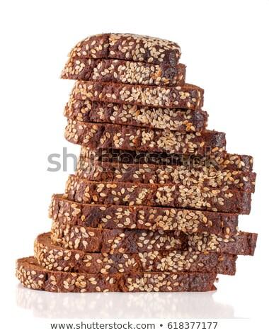 ízletes szeletel kenyér szezámmag izolált fehér Stock fotó © tetkoren