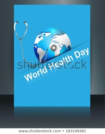 Beautiful World health day blue colorful shiny globe brochure wi Stock photo © bharat