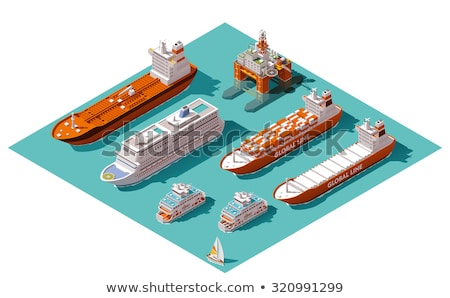 Ferry With Loading Platform And Cars Stok fotoğraf © tele52