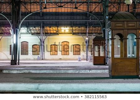 железнодорожная станция ночь дороги поезд скорости лампы Сток-фото © meinzahn