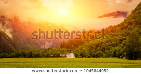 Bulutlar vadi İskandinavya ağaç çim doğa Stok fotoğraf © Nejron
