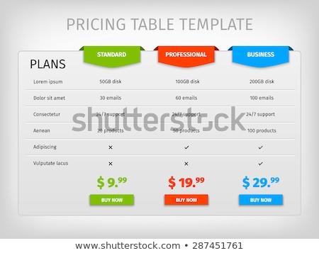termék · szolgáltatás · ár · összehasonlítás · asztal · kártyák - stock fotó © liliwhite