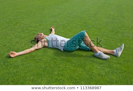 случайный человека травой поле улыбается Сток-фото © feedough
